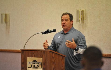 Winona State Football's head coach, Tom Sawyer, addresses fellow coaches, players and Winona community members at Thursday's Football Luncheon. CAITLIN REINEKE