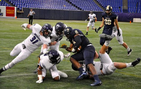 Winona State faces off against Concordia-St. Paul on Nov. 17 at the Metrodome.  BARTHOLOME RONDET