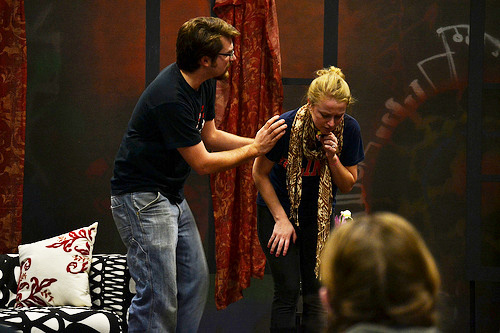 """Casey Howe and Lily Roe rehearse their scene ad nauseum for """"God of Carnage."""" KELSEY CHERWINKA"""