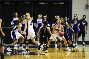 Junior, Emily Passint steals the ball from Crown College at the women's basketball game on Friday night. Photo credit: Jesus Cazares