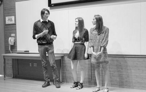 Left to right: Winona State graduate Tobias Mann, senior Casie Rafferty and junior Reagan Johnson talk about their Navajo documentary. (Photo by Taylor Nyman)