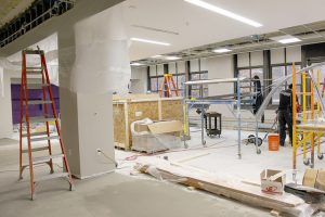 Winona State University started construction on first floor of Somsen Hall earlier this summer. It has continued into the end of fall semester, closing the west side of the first floor. (Photo by Sarah Murray)