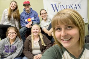 A Winonan editing staff group selfie on the last night of editing the fall 2015 edition.