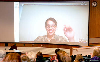 Common book author, Gene Luen Yang, spoke with students via Skype Tuesday evening to share his successful journey as an Asian-American author. (Photo by Lauren Reuteler)