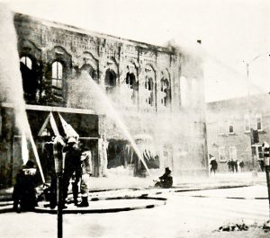 """The recent fires in downtown Winona are not the first the area has experienced. This photo, taken from the Winonan's Feb. 8, 1972 issue, accompanied the article """"Downtown fire destroys three store buildings."""" Sarah's Gift Shop, the Carousel Saloon and the old Federal Sunbeam Bakery were destroyed in the blaze."""