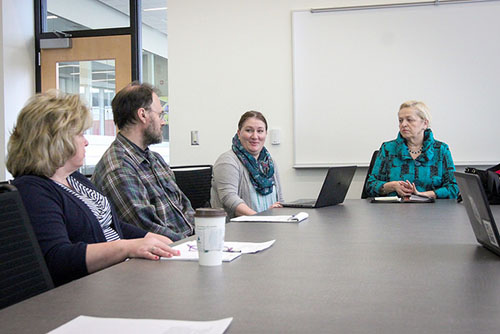"Members of Winona State University's Food Equity Committee host a meeting to discuss ways to improve food consumption and access for students.  This talk was held as part of Winona State's 2015-2016 university theme ""Equity as a Human Right.""  (Photo by Sarah Murray)"