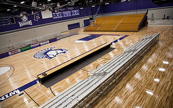Temporary bleachers in the McCown Gymnasium provide approximately 1,100 general admission seats. (Photo by Taylor Nyman)
