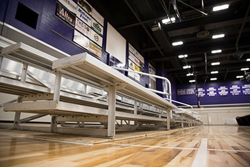 Temporary bleachers were moved into the McCown Gymnasium last week. (Photo by Taylor Nyman)