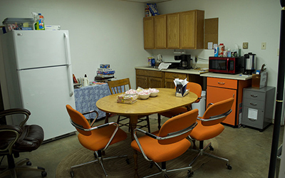 The Winona County Warming Center, located in the basement of the Community Bible Church, receives donations to stock the kitchen area for visitors. (Photo by Brianna Murphy)