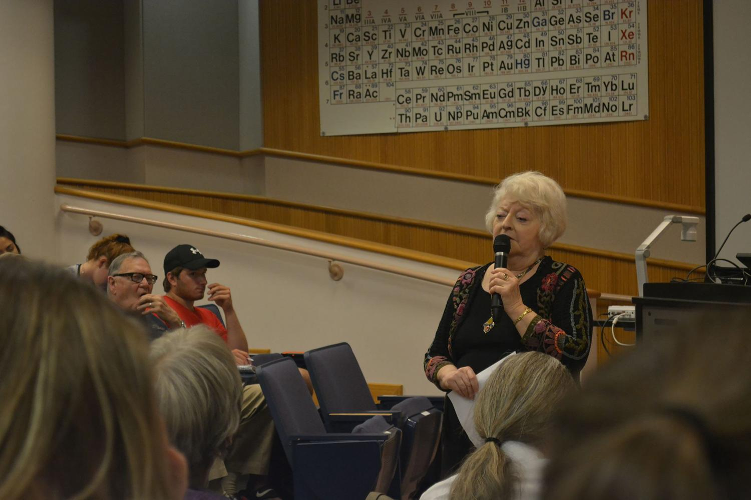 Retired Professor Rosine Tenenbaum speaks to community members and WSU students on Wednesday, Aug. 30 in Stark 103 auditorium about Nazism today and in the past.