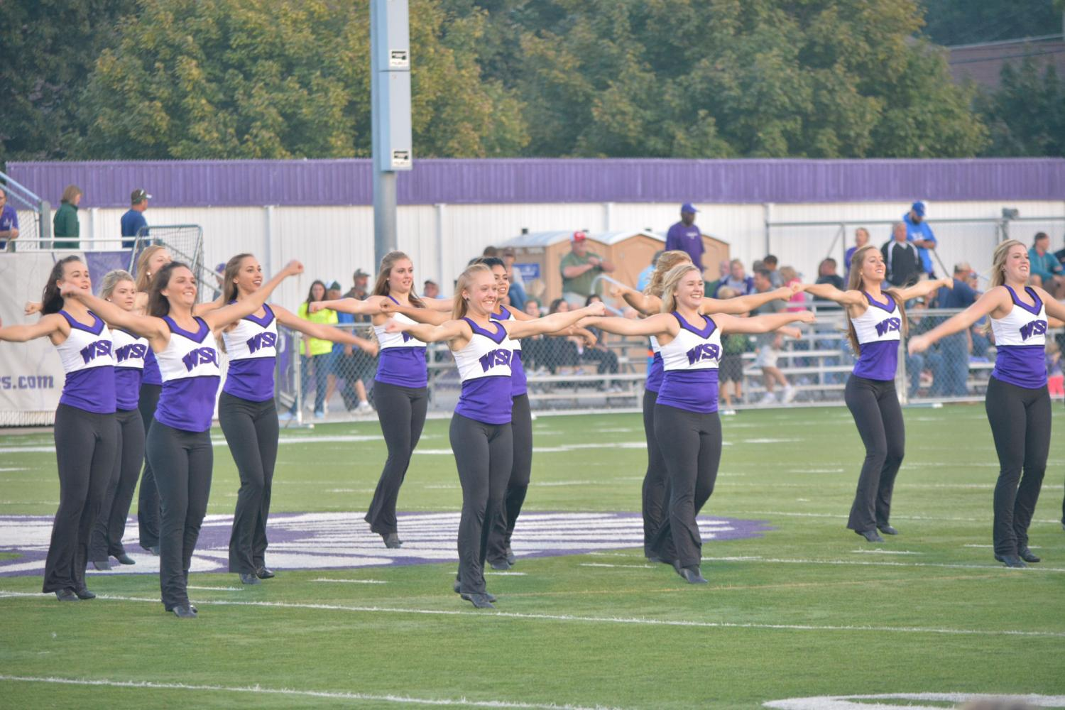 Winona+State+University%E2%80%99s+Dance+Team+performing+their+halftime+routine+at+the+football+game+last+Thursday%2C+Aug.+31+at+the+Altra+Federal+Credit+Union+Stadium.+The+Dance+Team+performs+halftime+shows+at+both+football+and+basketball+games%2C+and+competes+in+regional+competitions+throughout+Minnesota+and+Wisconsin.+The+team+placed+fourth+in+the+2016+NDA+National+Championships+in+Daytona+Beach%2C+FL+and+have+hopes+of+going+back+this+year.+