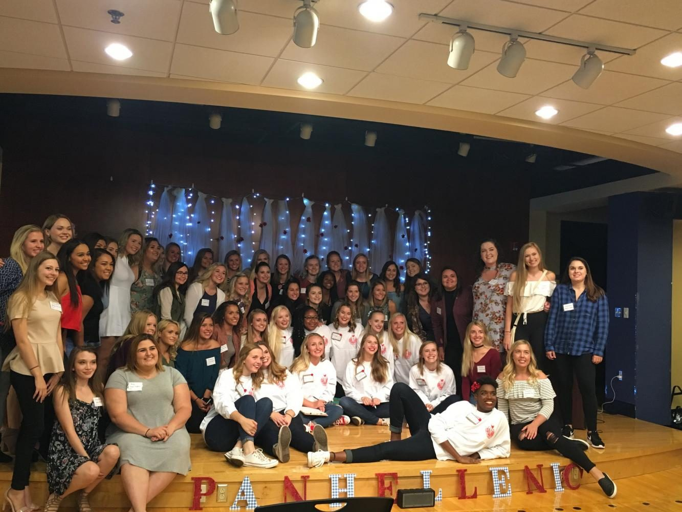 """Some potential new members and Panhellenic members posed for a picture before the first day of primary recruitment. The theme this year for recruitment was """"There is no place like home."""" All the ladies who went through recruitment were looking for a place to call home."""