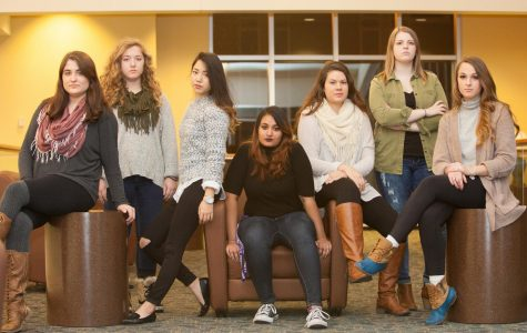 Left to right: Cassandra, Jennifer, Risa, Jacqueline, Megan, Alexis and Sarah pose for the sexual assault survivors poster campaign. The poster campaign promotes breaking the silence around sexual assault and provides information about resources that other survivors can use to find support.