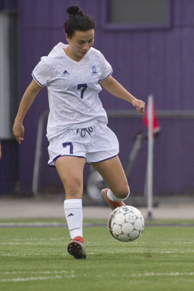 First-year Melissa Greco of Winona State dribbles the ball in the first half during a game against Upper Iowa earlier this season.