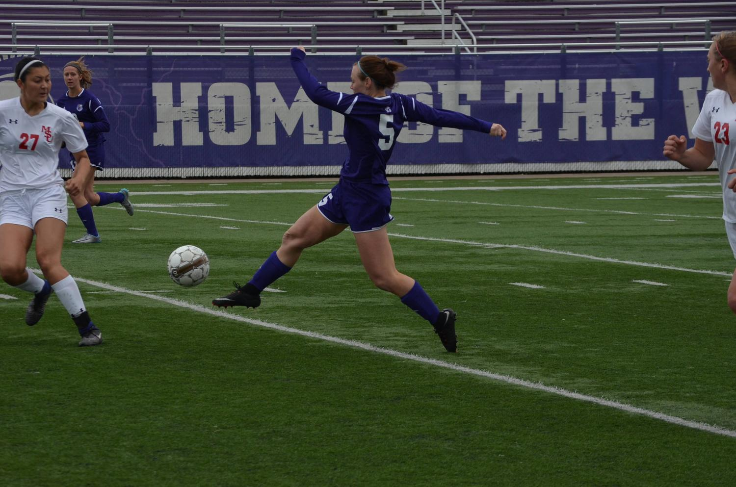 Junior forward Darian Molter gets ready to kick the ball down field at Sunday's game against Minot State University at Altra Credit Federal Union Stadium.