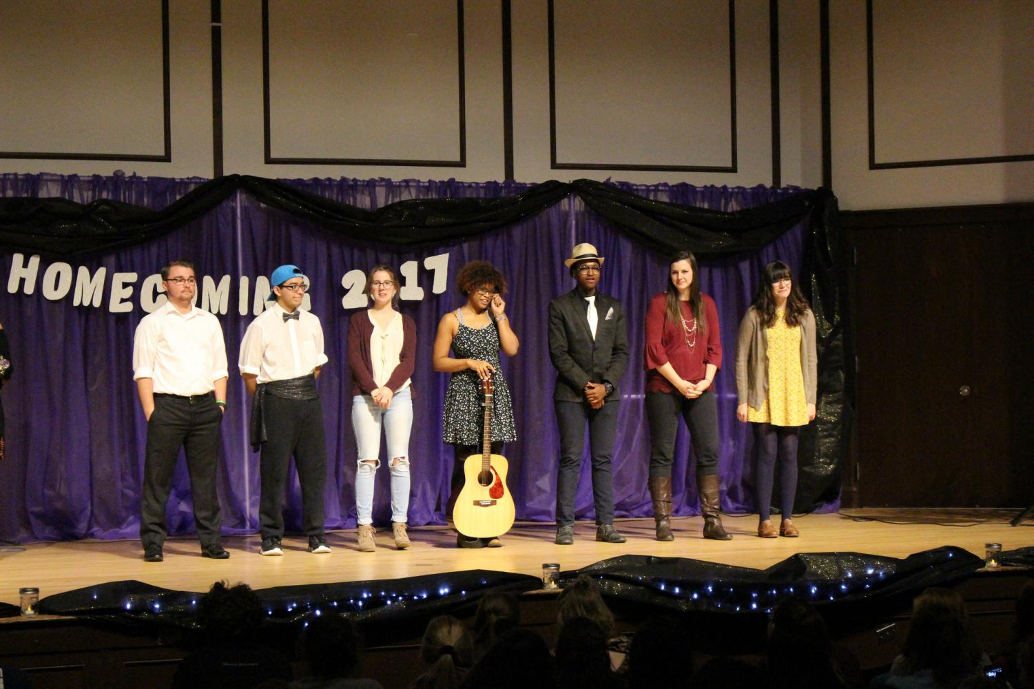The participants of the Winona's Got Talent Show wait for the winner to be announced last Sunday Oct. 15 in the  Harriet Johnson Auditorium.
