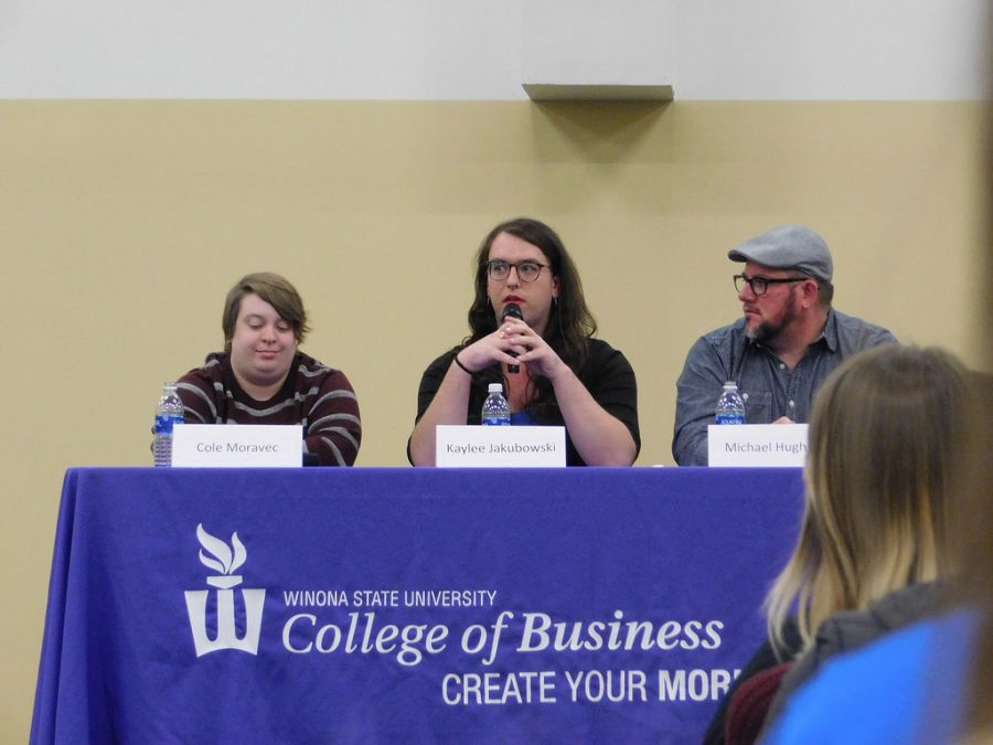 Alumni+Cole+Moravec%2C+Kaylee+Jakubowski+and+Michael+Hughes+discussed+their+experiences+of+finding+and+getting+jobs+as+transgender+individuals+on+Wednesday%2C+Nov.+8+in+East+Hall.+