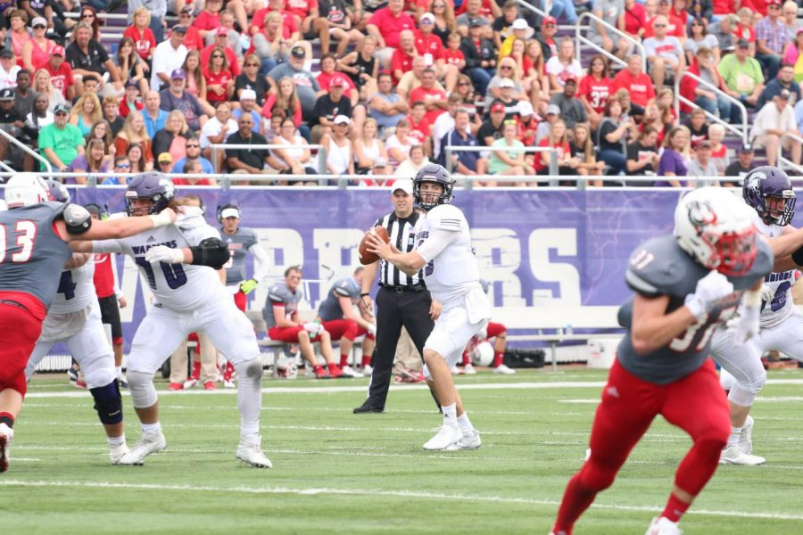 Senior+quarterback+Darren+Beenken+looks+to+pass+the+ball+on+Saturday%2C+Sept.+16+against+Minnesota+State+University+Moorhead+at+Altra+Federal+Credit+Union+Stadium%2C+where+the+Warriors+won+42-14.+Beenken+was+named+to+the+NSIC+All-Conference+second+team+along+with+several+other+teammates.+The+Warriors+finished+off+their+regular+season+with+a+10-1+record+and+hosted+their+first+home+playoff+since+2007.+