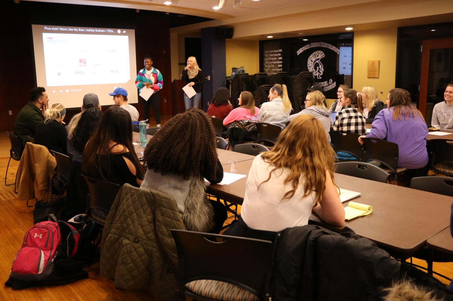 Juniors Angel Tarwoe and Hallie Riedel co-facilitated a discussion following the viewing of Ashley Graham's TED Talk on body image on Tuesday, Oct. 31. The event was part of Winona State University's monthly TED Talk Tuesday series.