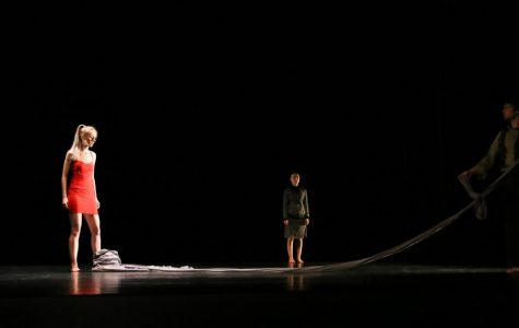 """Left to right: Adelle Vietor, Courtney Harms and Noah Tashner in their performance of """"Tether"""" in the Theatre and Dance department's annual production of Dancescape."""