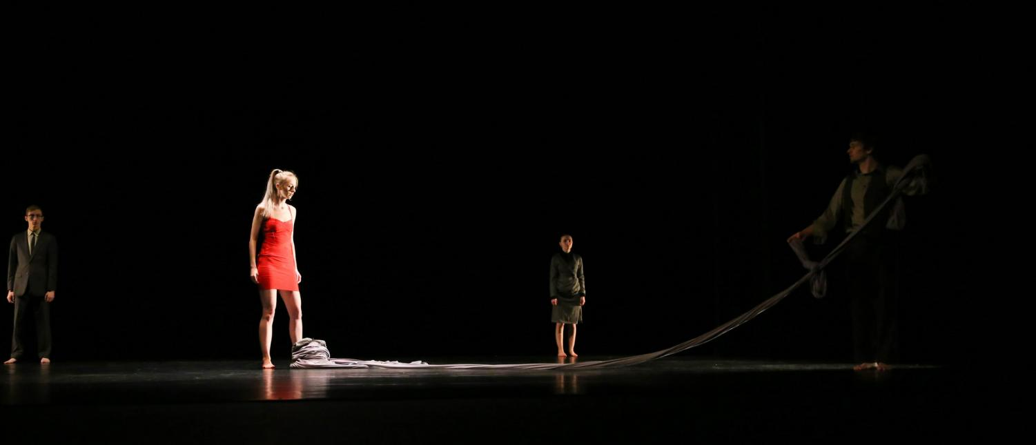 "Left to right: Adelle Vietor, Courtney Harms and Noah Tashner in their performance of ""Tether"" in the Theatre and Dance department's annual production of Dancescape."