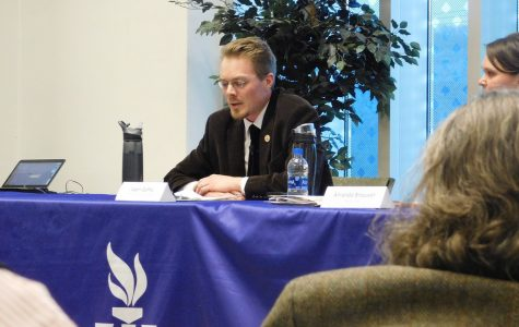 Adam Gaffey, a communication studies professor, speaks at a panel discussing anti-intellectualism on the second floor of the Darrell W. Krueger Library on Wednesday, Feb. 2.
