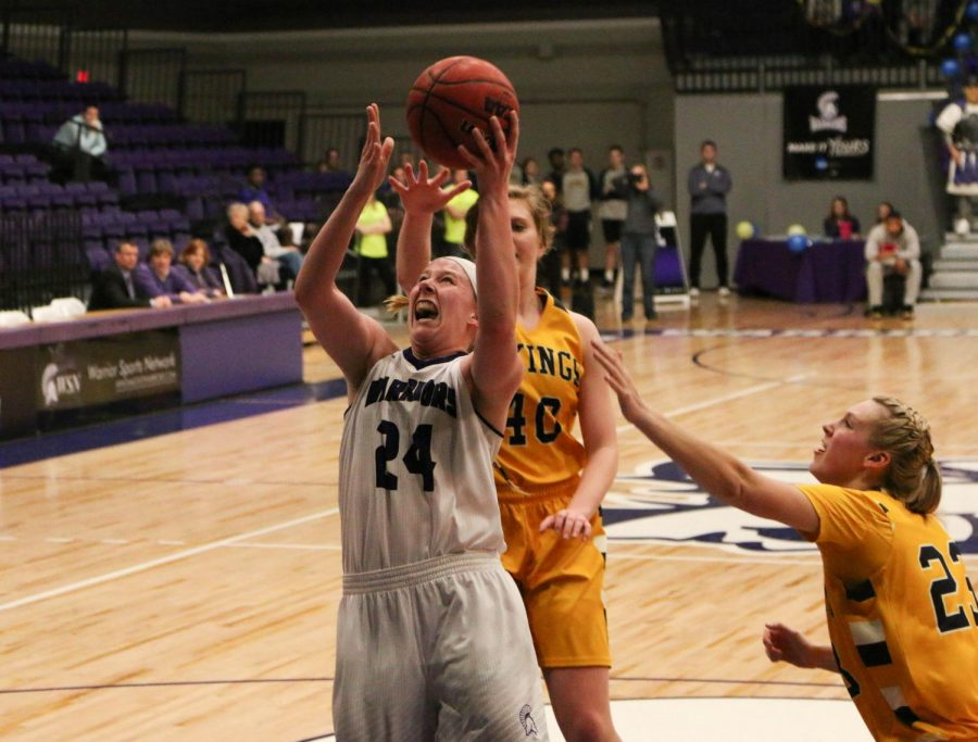 Senior forward Hannah McGlone makes an attempt on shot against Augustana University on Friday, Feb. 16 in McCown Gymnasium. The Warriors won 71-67 against the Vikings but lost 60-59 on Saturday against Wayne State University.