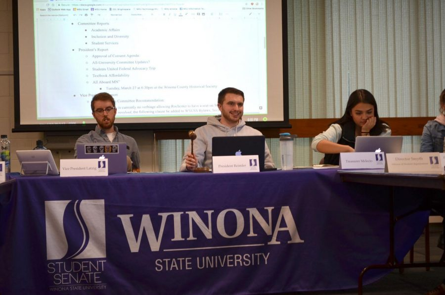 Left to right: Student Senate Vice President Chris Latzig, President Ben Reimler and Treasurer Christina Melecio mediate a discussion during the March 13 senate meeting. Student Senate is one of the few student organizations at Winona State that have paid leadership positions, with seven paid positions that have stipends which range from $750 to $5,000 a year.