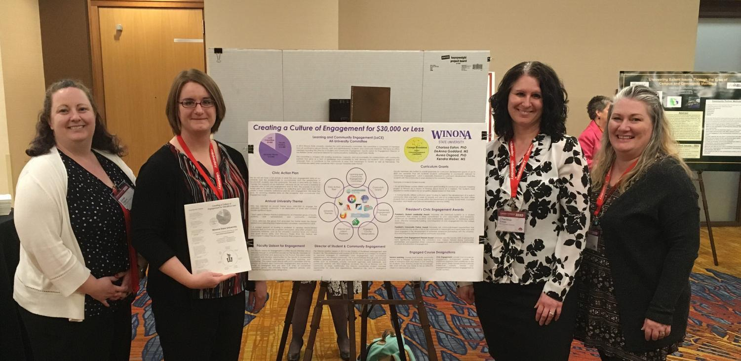 "Left to right: Aurea Osgood, Charissa Eaton, DeAnna Goddard and Kendra Weber represented Winona State University at the Campus Compact 2018 National Conference in Indianapolis, where they presented ""Creating a Culture of Engagement for $30,000 or Less""."