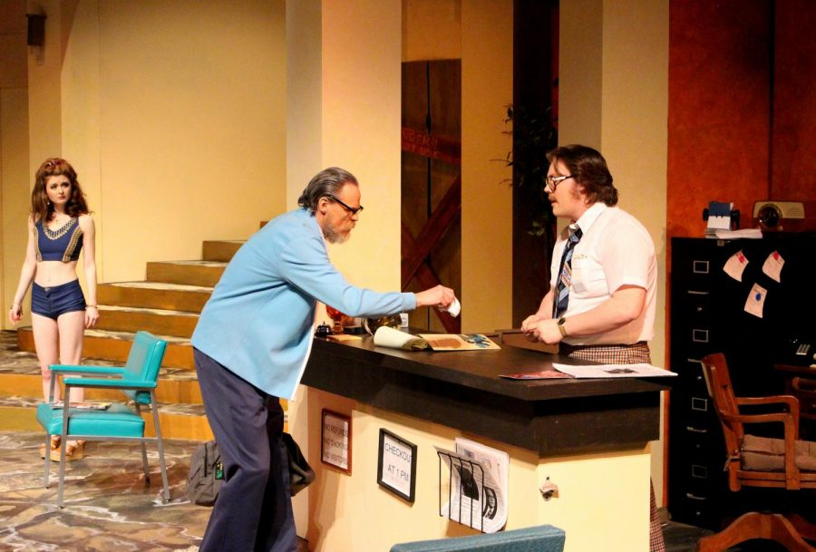 """(Right to left) Mr. Morse (Carew Halleck) speaks to hotel desk clerk Bill Lewis (Cameron Lornston) in Winona State's recent production of """"Hot L Baltimore,"""" which ran from April 11-14 in the Performing Art Center's Vivian Fusillo Theatre."""