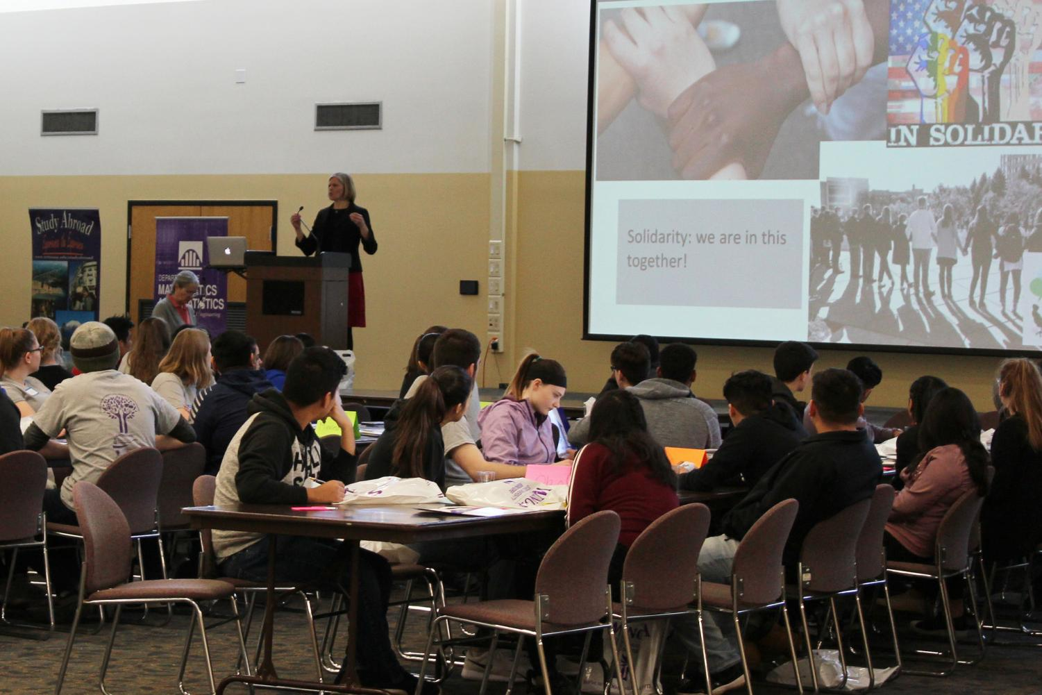 Amy Hornby Uribe begins a discussion about solidarity during Winona State's fourth annual Civic Engagement and Leadership Conference for underrepresented high school students on Wednesday, April 4 in East Hall.