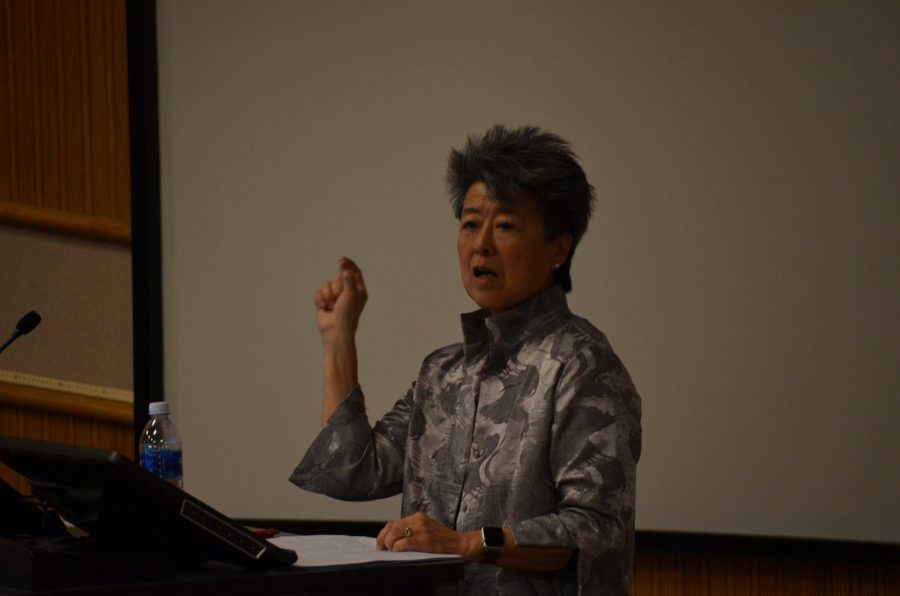 Author, journalist and activist Helen Zia spoke about global migration and her experience growing up in America as well as her activitism in feminism, Asian-American civil rights and LGBTQ rights.