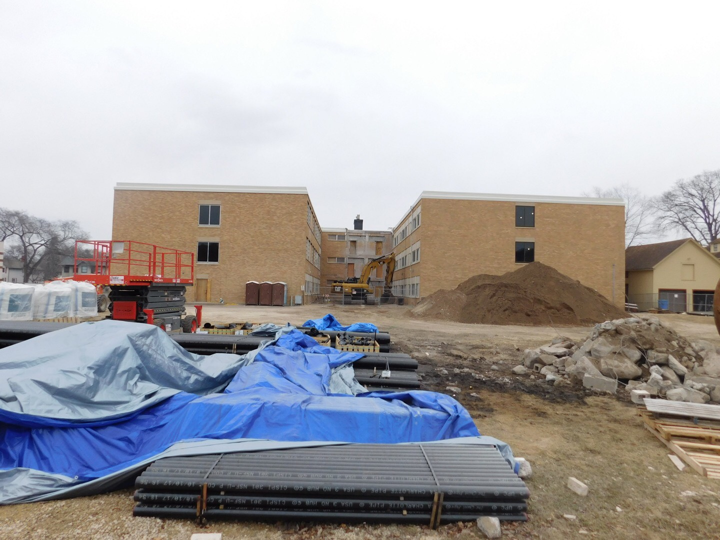 In this photo from our April 18 edition, the new education village, located on Waubasha Street, is being remodeled for education majors.