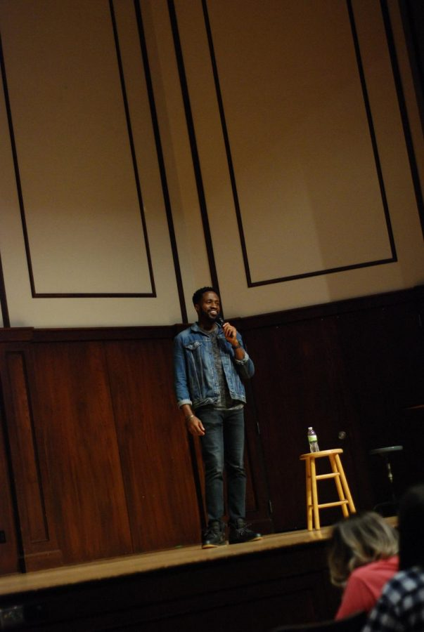 As+a+kickoff+to+homecoming+weekend%2C+UPAC+hosted+comedian+Chinedu+Unaka+in+the+Harriet+Johnson+Auditorium+on+Friday%2C+Oct.+5.+Unaka%27s+sketches+included+topics+like+relationships%2C+growing+up+with+immigrant+parents%2C+teaching+and+college+life.