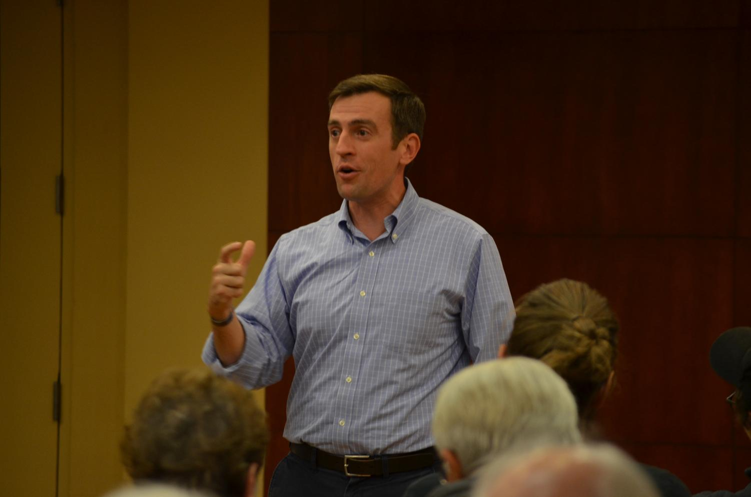 Congressional candidate Dan Feehan spoke at the Get Out the Vote Rally on Monday, Oct. 22 in the Student Activity Center. One major topic was to get out and vote. Feehan knew that the audience was voting so he challenged them to get others to join.