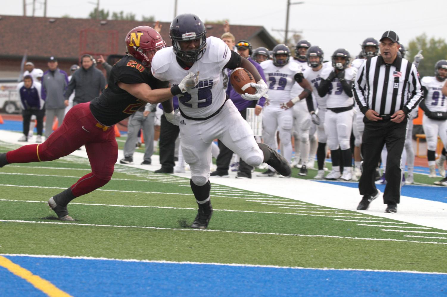 Senior running back Eric Birth runs towards the end zone to take the lead in the fourth quarter against Northern State University where the Warriors won 22-15 on Saturday, Sept. 29.