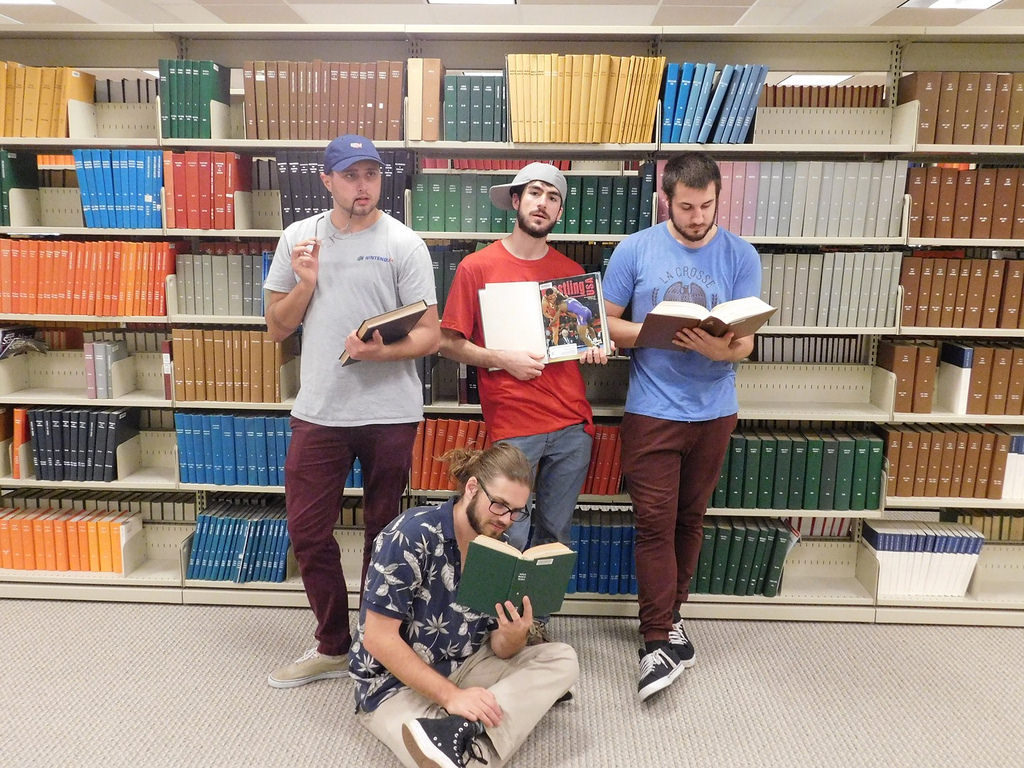 The members of Karate Chop Silence studying hard in the library. The boys have been a band for just over two years, playing shows all across the midwest, and are especially popular in Iowa, according to guitarist and lead vocals Mason Smith.
