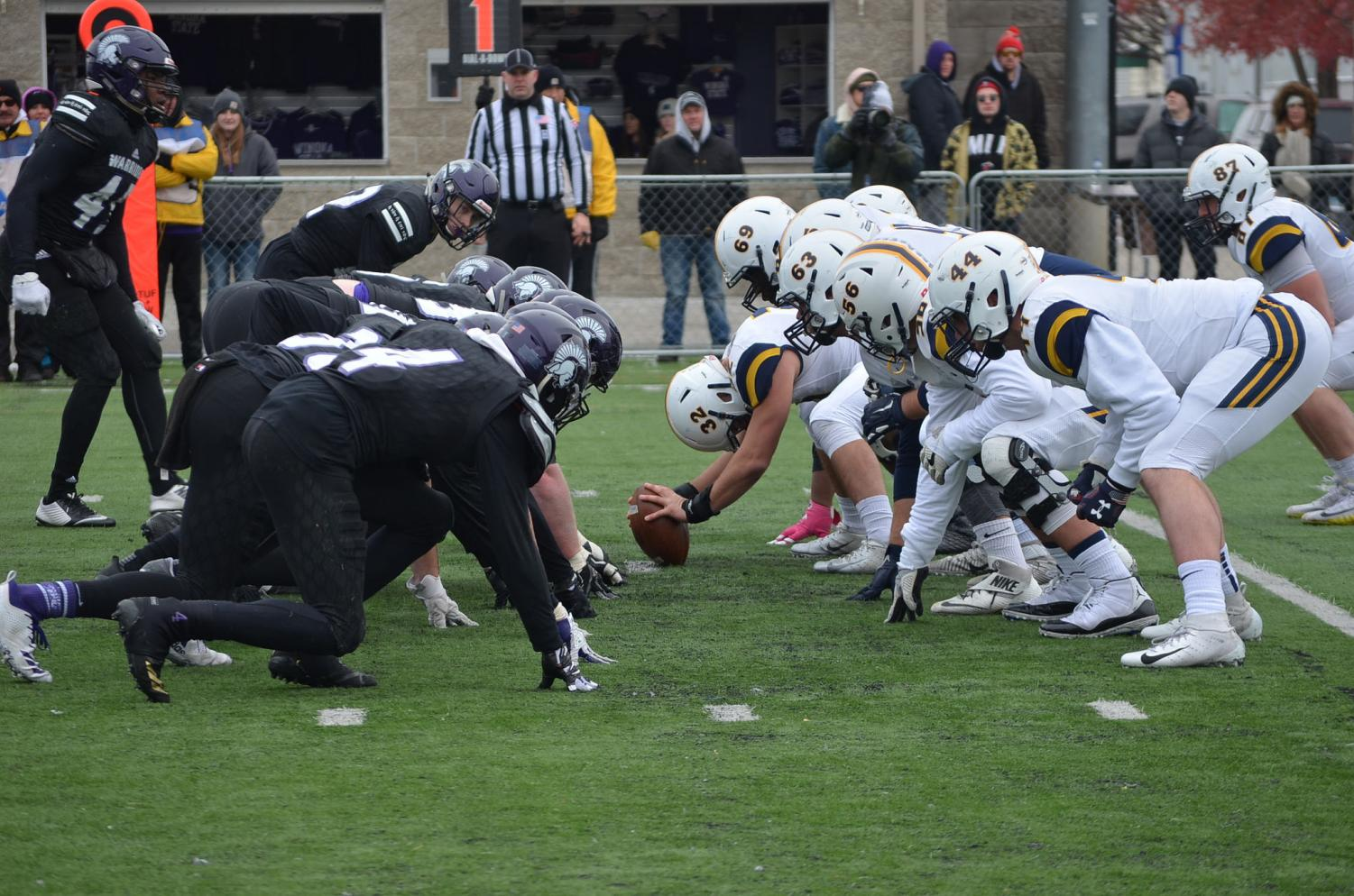 The Winona State Football team faced off against Concordia University, St. Paul on Saturday, November 10 at Altra Federal Credit Union Stadium. The Warriors ended the last game of the year and senior day on a high note, taking home a close win with a score of 24-20.
