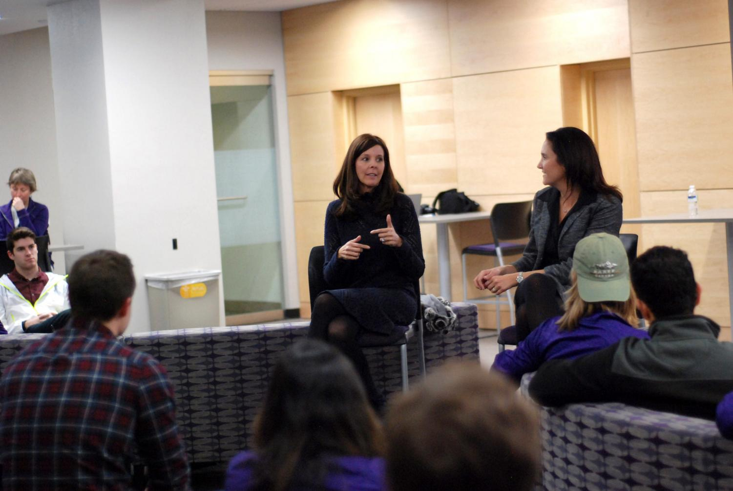 Left to Right: Speakers Jennifer Smith and Amy Langer answer questions after a Women's Excellence in Entrepreneurship and Leadership presentation hosted by the Winona State College of Business on Thursday, Nov. 1 in Science Laboratory Center 120.