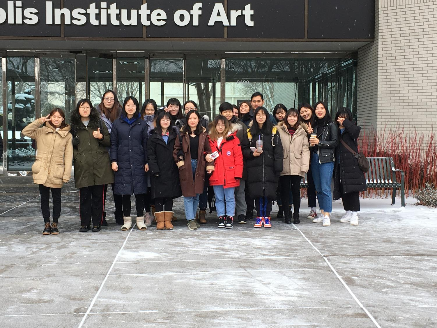 Students from Winona State University's English Language Program visit Minneapolis Institute of Art on Saturday, January 26. The group was in Minneapolis for the annual International Food and Art Festival.