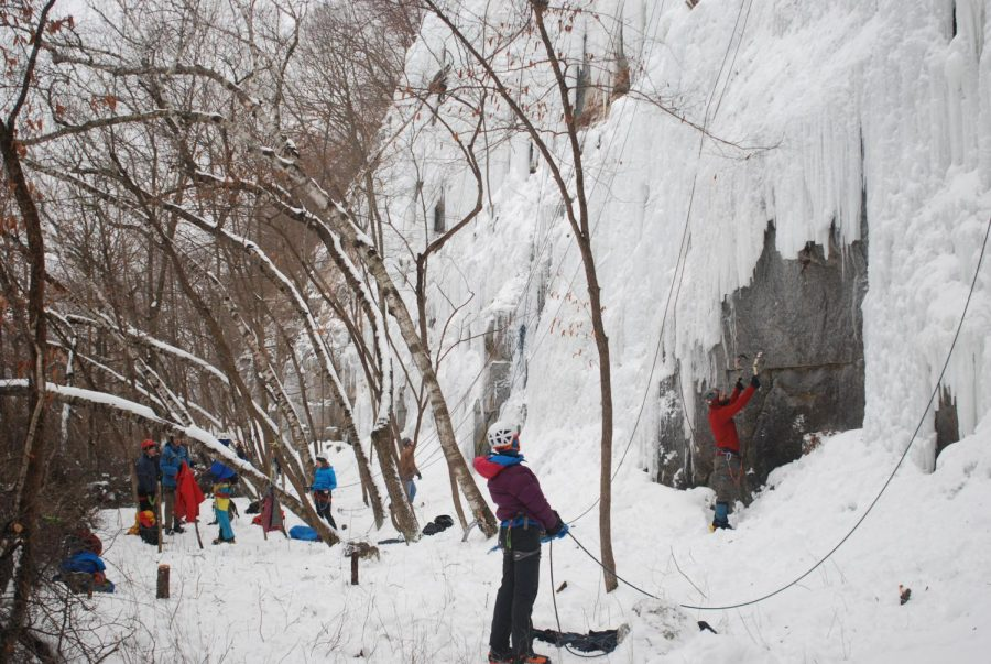 Climbers+from+across+the+region+visited+Winona+during+the+warm+weather+on+Saturday%2C+Feb.+2+to+enjoy+the+Winona+Ice+Park.+The+park%2C+created+by+the+city+of+Winona+through+the+Parks+and+Recreation+department%2C+has+a+new+location+to+call+home+this+winter.+After+multiple+years+on+the+west+end+of+Winona%2C+the+Winona+Ice+Park+is+now+located+just+off+the+Sugarloaf+Trailhead+near+Sugarloaf+bluff.