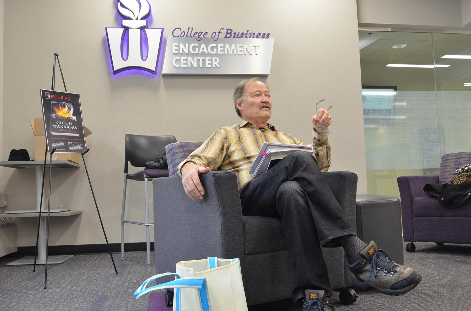 "Winona State University alum and first-time author Robert Junghans visited Winona State on Saturday, Feb. 23 to promote the release of his first book. ""Cloud Warriors"" is a historical fiction set in two different time periods and asks the moral question is living longer worth the price? Junghans spoke in the Somsen Engagement Center to discuss his path to publication and inspirations as a writer."