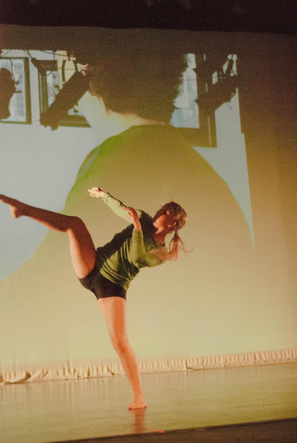 Winona state's first year student, Becca Braun, dancing in piece