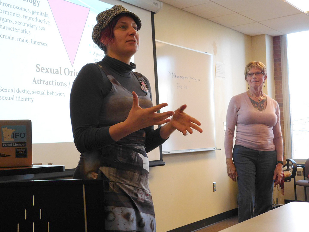 Mary Jo Klinker, a professor in the Women, Gender, and Sexuality Studies department, works with her colleague, JamieAnn Meyers, to host a class through the WSU Retiree Center's Senior University. The class covers topics such as what the word