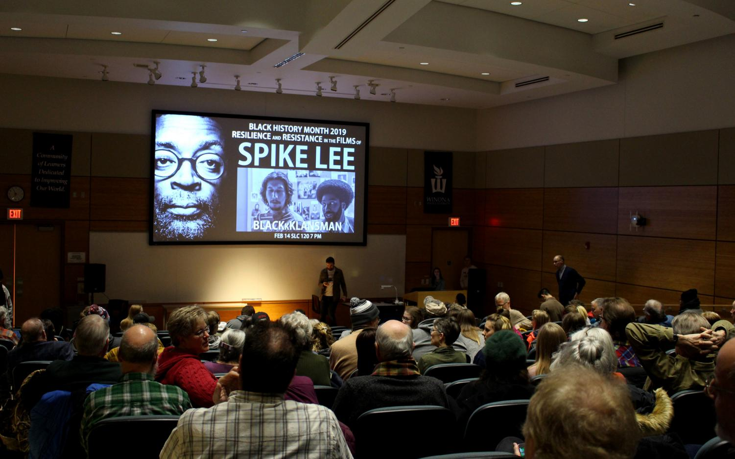 """Winona State students and community members await the beginning of """"BlacKkKlansman,"""" directed by Spike Lee. The movie showing is part of the Resilience series in honor of Black History Month."""