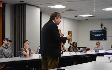 Winona State University President Scott Olson discusses plans for a new field house with the student senate which the students at Winona State could partially pay for.