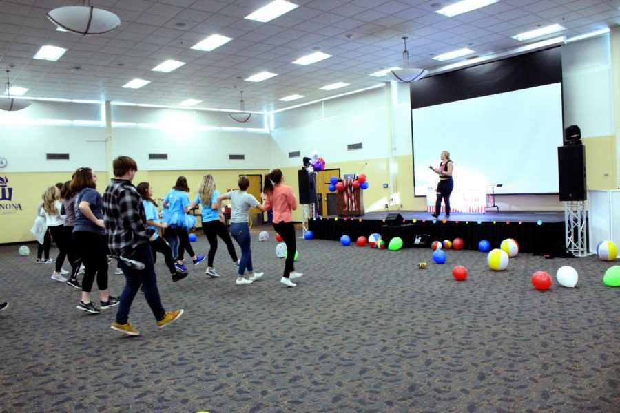 Winona State Students learn to Zumba at this year's Warriorthon. The event on Saturday, Feb. 23 is a seven-hour dance marathon benefiting Gundersen Health System.