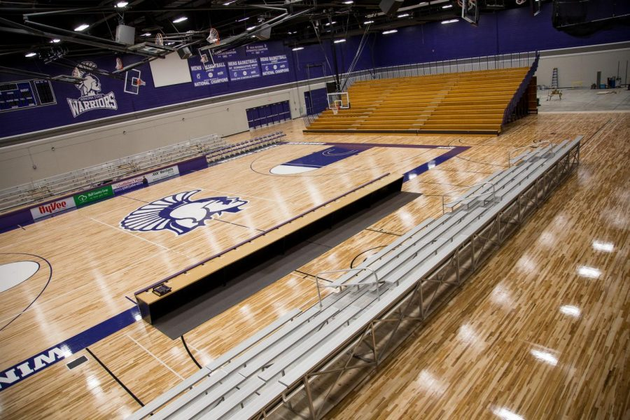 A picture of McCown Gymnasium before its recent renovations closed off the back portion of the space to house a practice area for the gymnastics team, whose previous location was in Wabasha Hall. Due to the smaller space, future graduation ceremonies will have limited, ticketed seating.