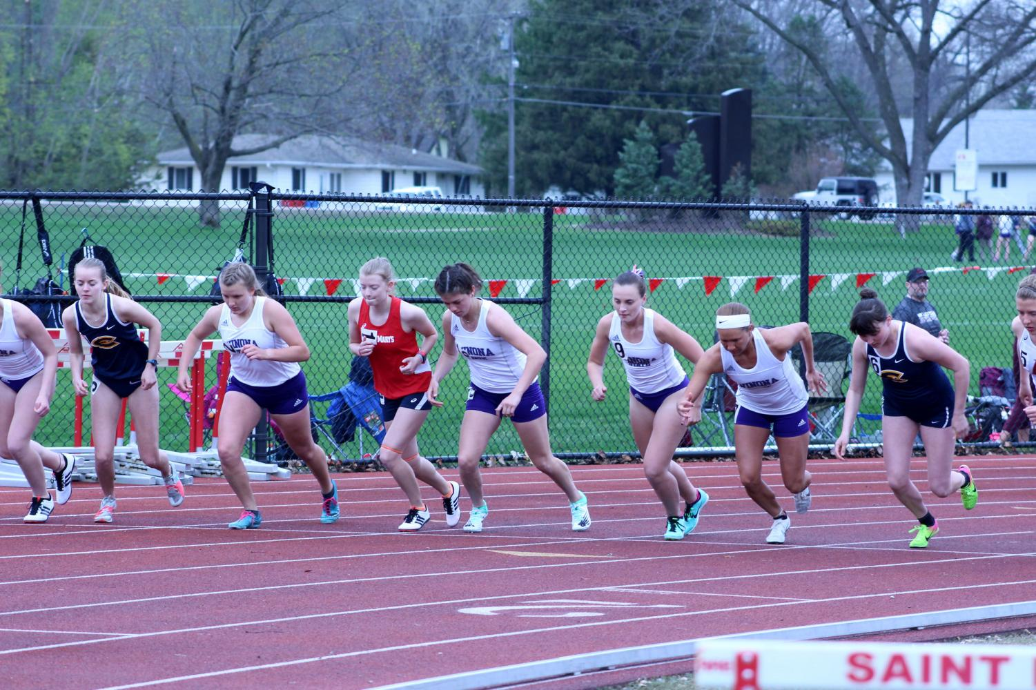 Members of the Winona State track team begin the 1500m event at the Cardinal Open hosted at St. Mary's University on Thursday, April 25. The Warriors took home 10 first place finishes and had multiple individual achievements.