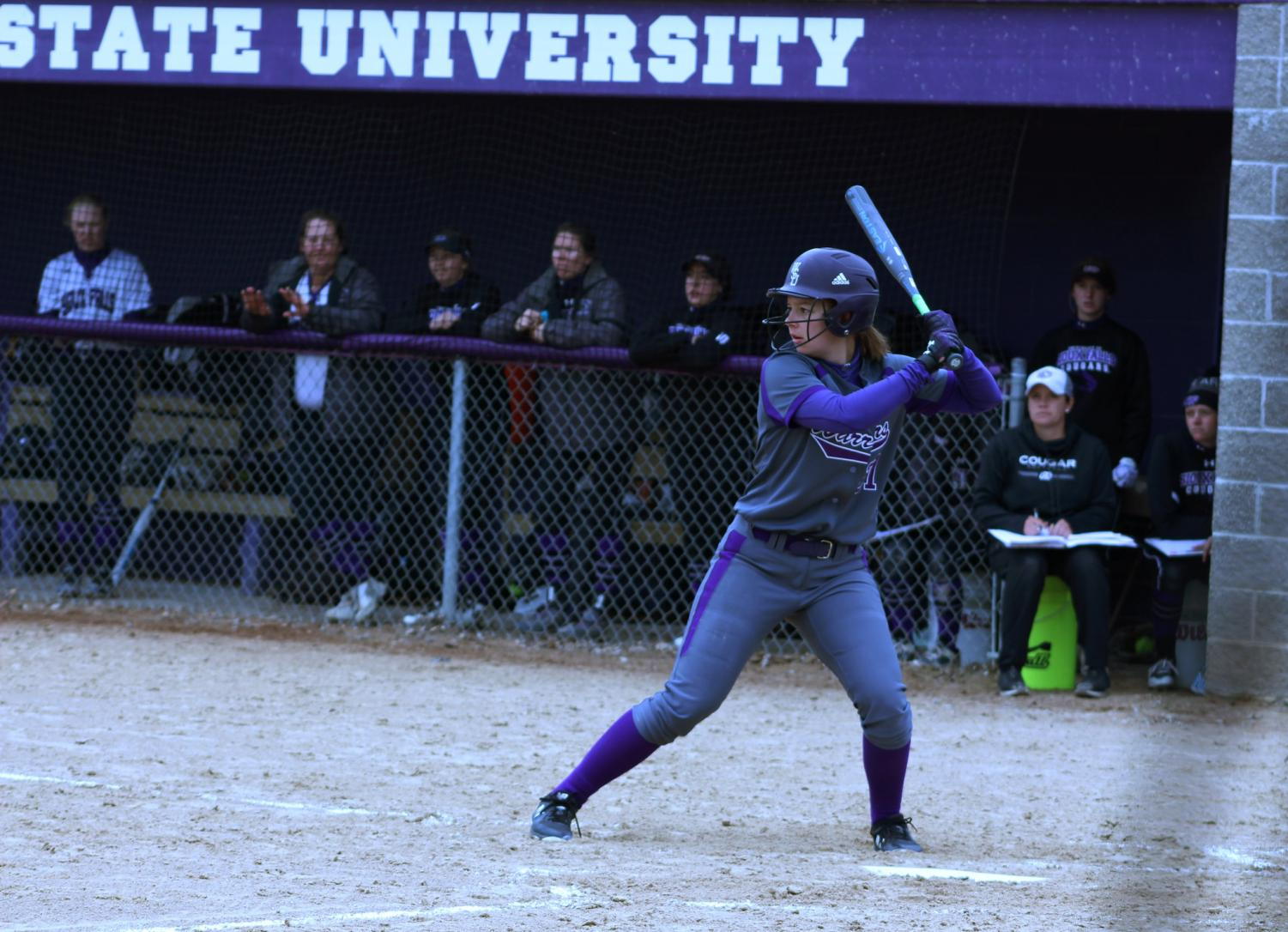 Sophomore Rina Niehoff bats against University of Sioux Falls on Saturday, April 6. The Warriors improved their season record to 27-5 over the weekend.